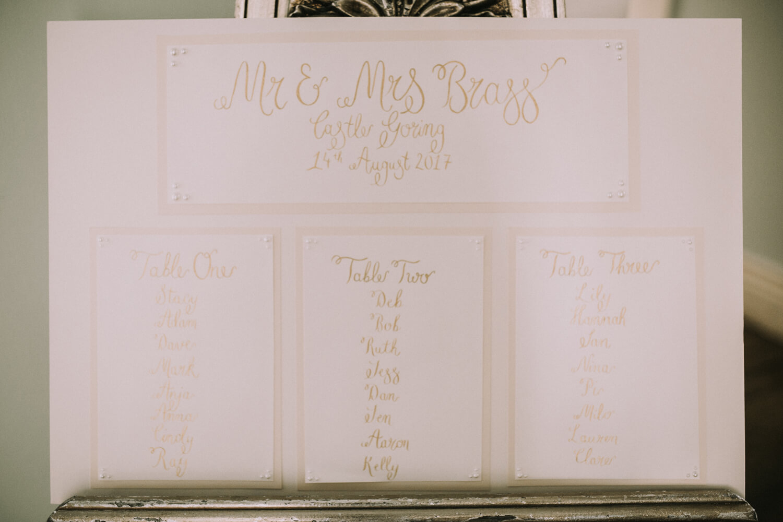 Wedding Calligraphy - Castle Goring Wedding